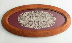 "Antique Arts & Crafts Mission Tiger Oak Wood Oval Picture Frame 28.5"" by 14.5"""