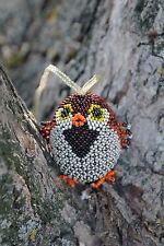 3D Beaded Sparrow Bird Wooden Easter Egg Ornament,Brown/Black/Orange Glass Beads