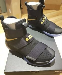 new arrivals 27430 467b8 Image is loading NIKE-iD-LEBRON-SOLDIER-10-CHAMPIONSHIP-BLACK-GOLD-