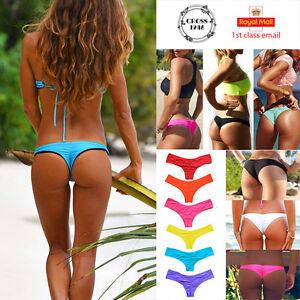 dfba6a756f Image is loading UK-Bikini-Women-Brazilian-Cheeky-Ruched-Bottom-Thong-