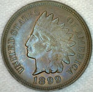 1899-UNC-Indian-Head-Bronze-Penny-1c-US-Coin-One-Cent-Uncirculated