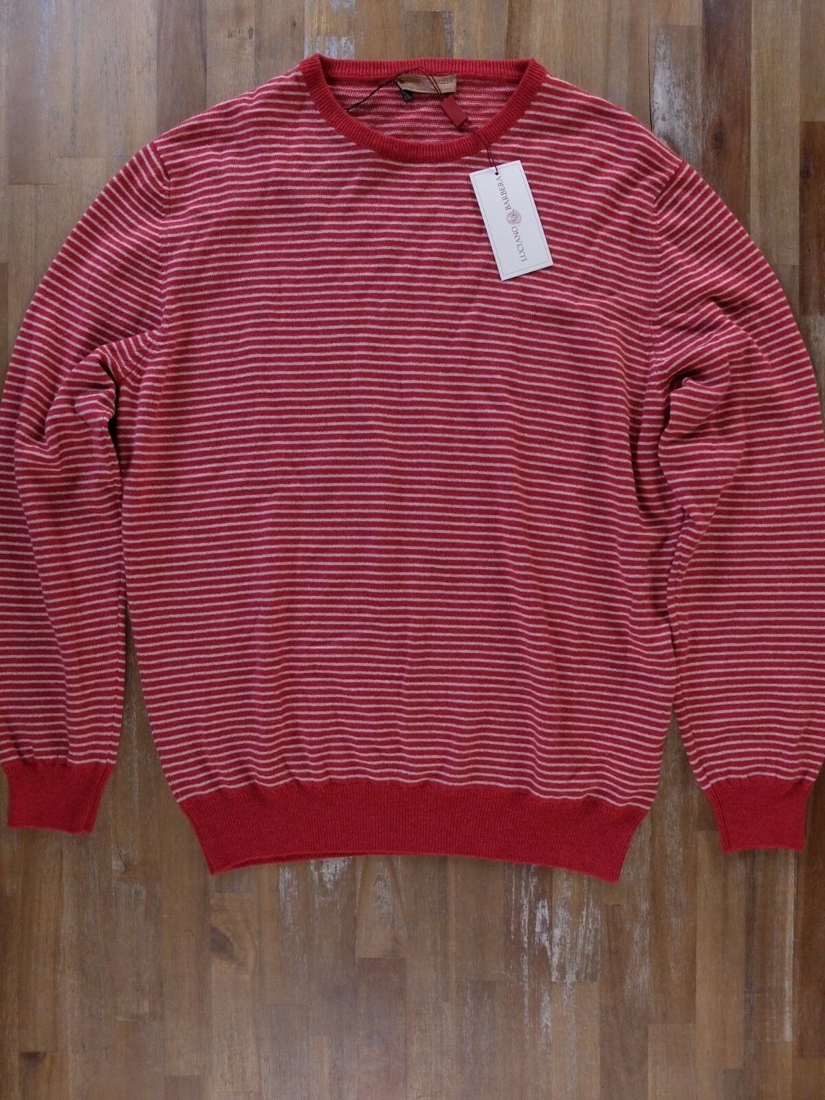 LUCIANO BARBERA 100% cashmere ROT striped sweater authentic - Größe XL / 54 - NWT