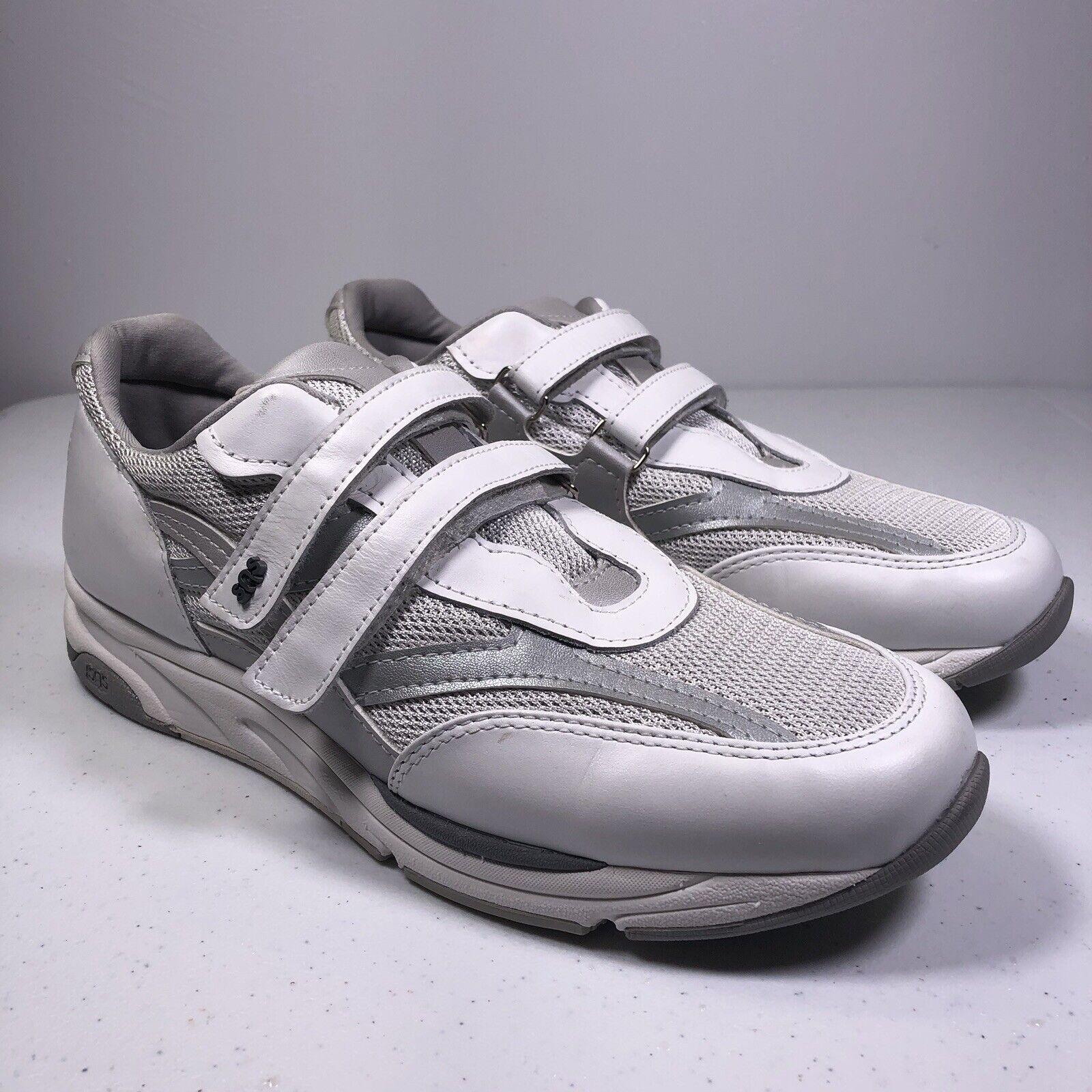 SAS Women's White Leather Tripad Comfort shoes Velcro Closure Size 10N