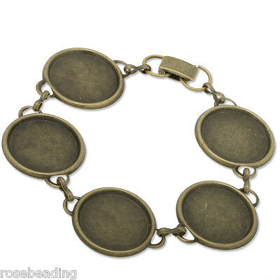 5PCS New Design Antique Bronze Plated Bracelet Chain With 5pcs 18mm Pad C2867