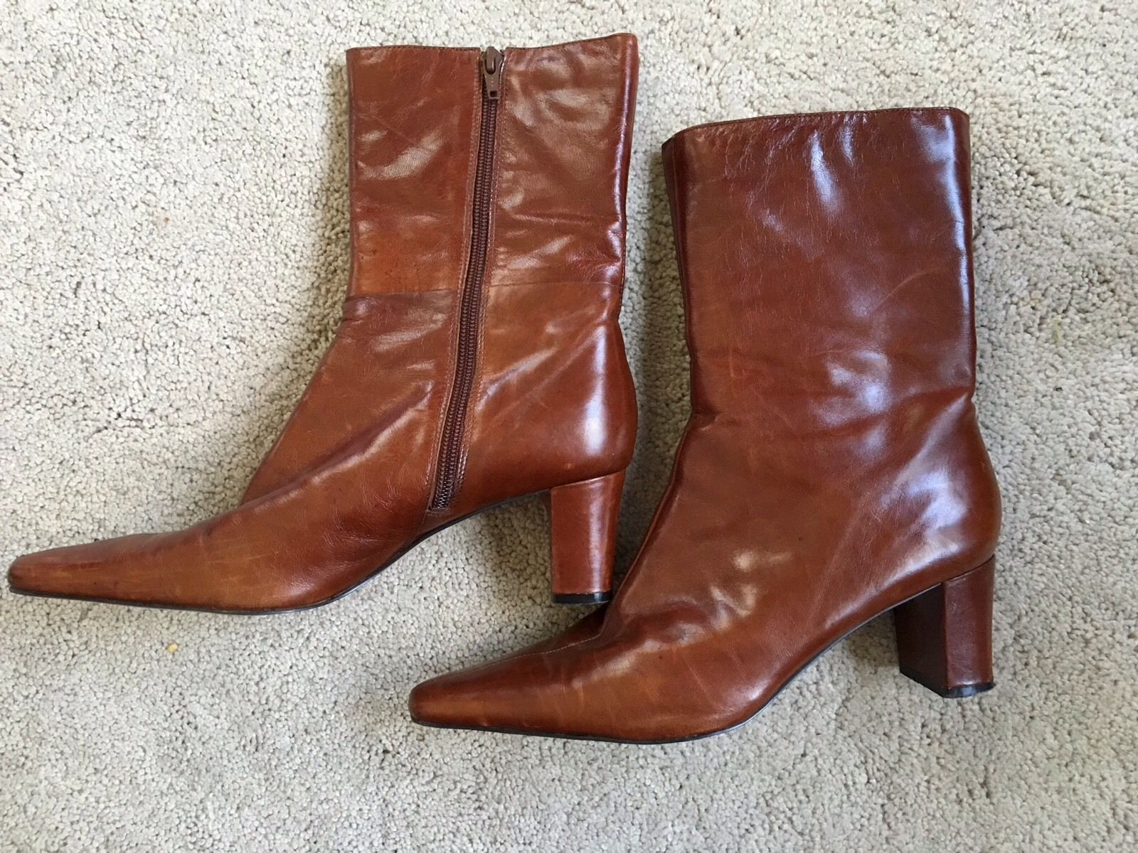 NINE WEST Leather Ankle Boots Cowboy Pointy Brown Size 8.5 Joysticko Chunky Heel