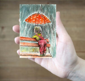 ACEO-Rain-child-umbrella-painting-original-watercolor-art-card