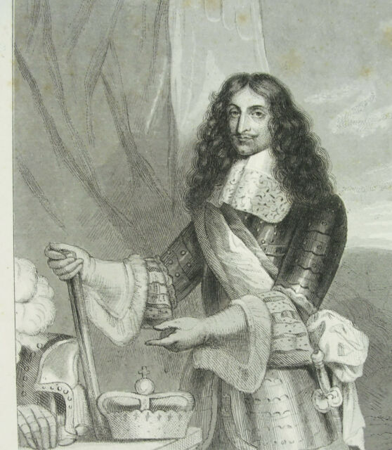 Engraving XIX ° Frederic III Of Denmark And Norway 3 Af Og Norge