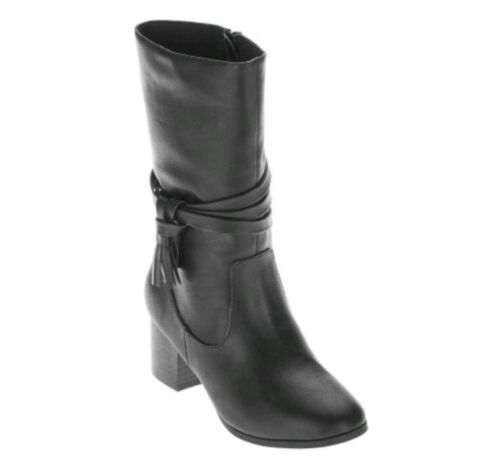 13-3 Faded Glory Youth Girls/' Black Heeled Cowboy Riding Boots//Shoes