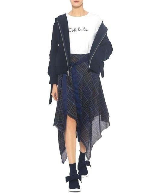 Public School Women's bluee Danen Plaid Asymmetric Midi Skirt sz.0 NWT  575