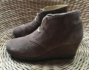 Brown Suede Wedge Ankle Boots UK