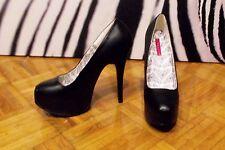 "Pleaser Demonia Bordello Platform Pump 6"" heel Shoes Black Leather 10 41"