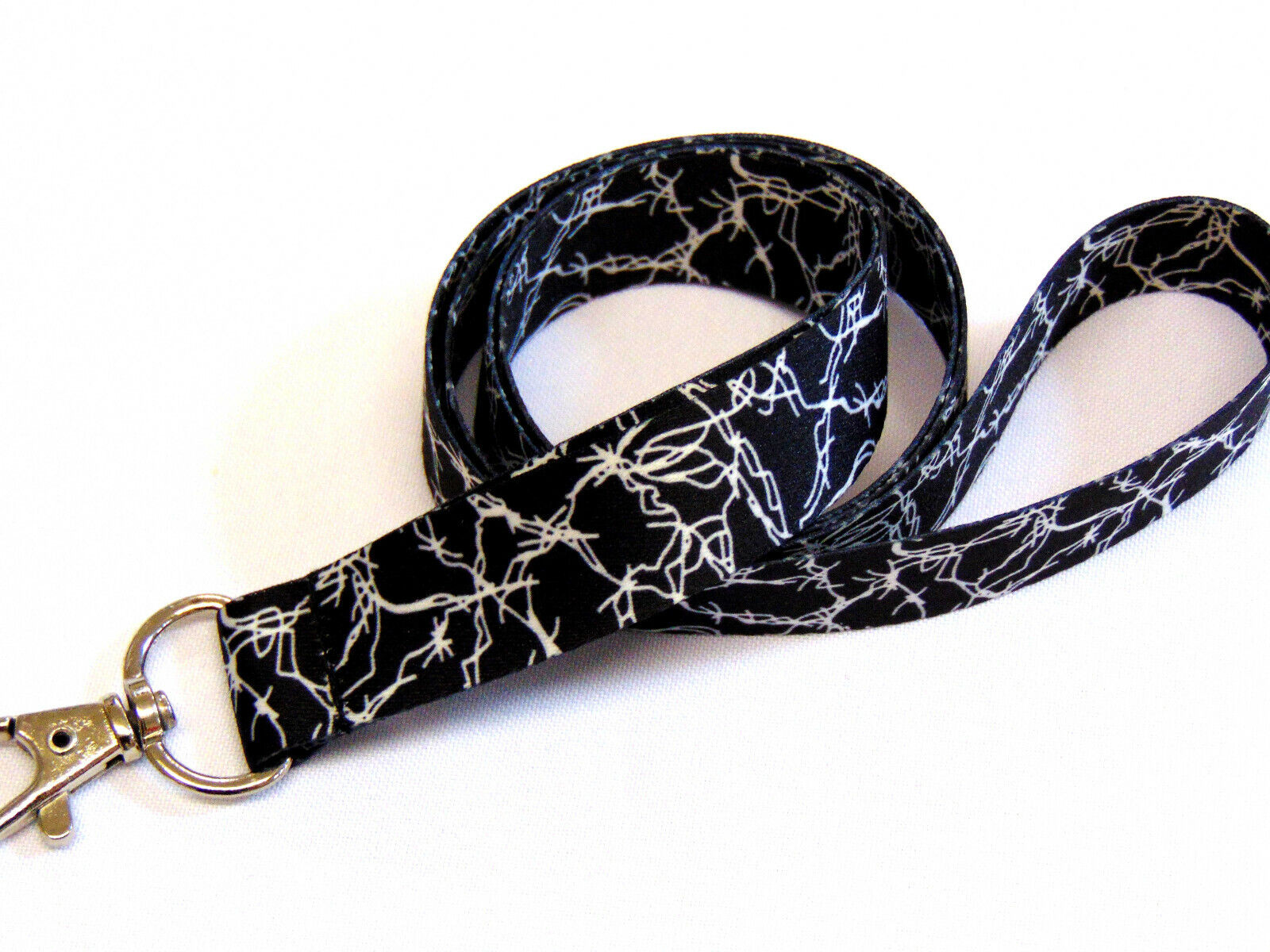 Barbed Wire printed neck strap lanyard for ID, keys etc. 15mm. Made in the UK