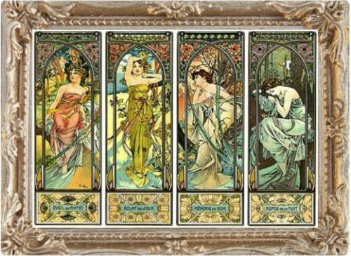 FAST DELIVERY Alfons Mucha 4 SEASONS Dollhouse Miniature Picture MADE IN USA