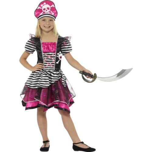 Black Pink Perfect Pirate Girl Buccaneer Kids Girls Childs Fancy Dress Costume