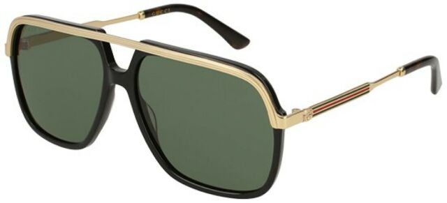 0fea79dc61 Gucci Gg0200s 001 Black Gold Green Sunglasses Authentic for sale ...