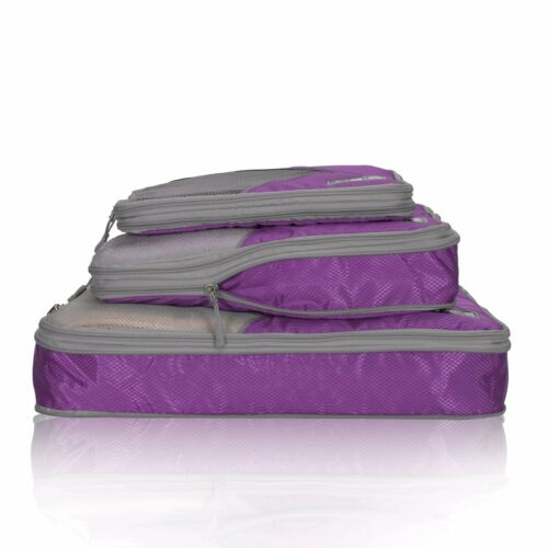 Travel 3 Pieces Set Compression Packing Cubes Expandable Packing Organizer Pouch