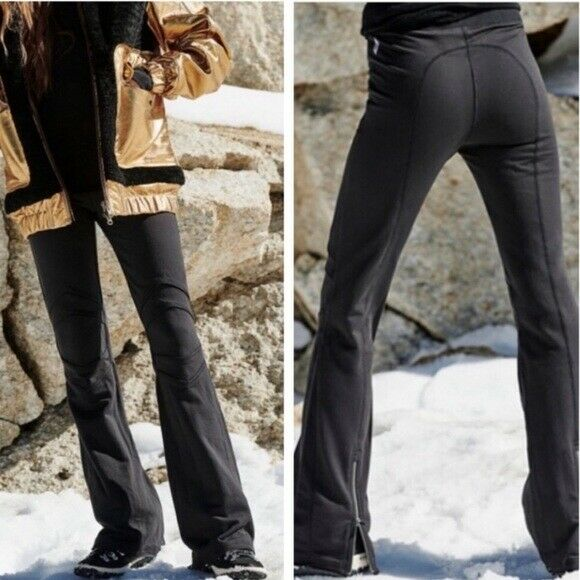 Free People Movement Off Piste Black Stretch Pants Bells Zip Yoga Workout S