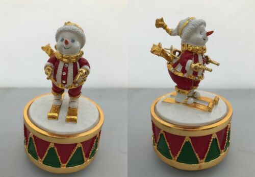 Musical Enamelled Christmas Figurine Snowman Santa Claus Father Christmas Xmas
