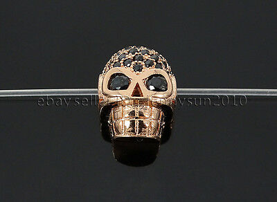 1Pcs Zircon Gemstones Pave Horizontal Drilled Skull Bracelet Connector Beads
