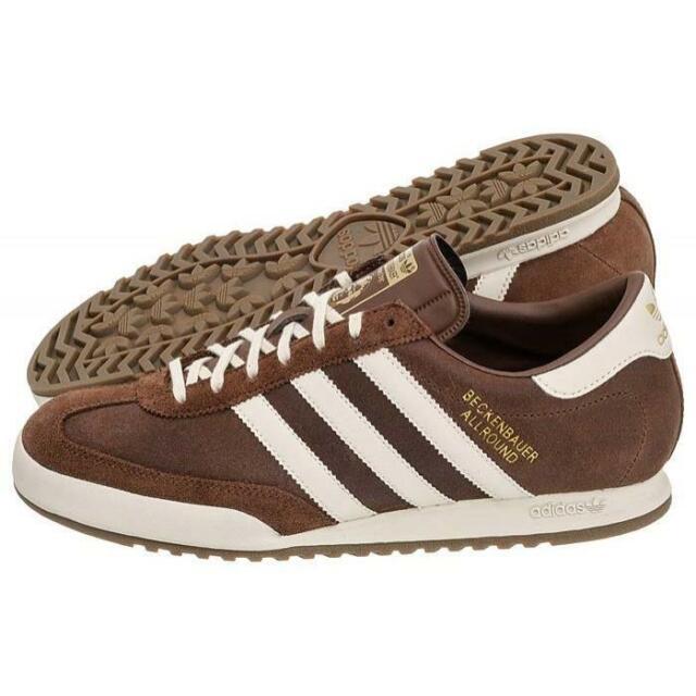 Details zu Adidas Original Beckenbauer Allround Herren Turnschuhe Braun Leder UK Größen