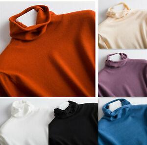 Women-039-s-Slim-Knitted-Turtleneck-Cashmere-Jumper-Wool-Pullover-Elasticity-Sweater