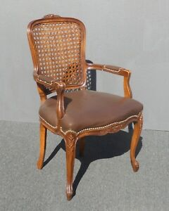 Magnificent Details About Vintage French Provincial Style Carved Wood Brown Cane Back Accent Chair Ncnpc Chair Design For Home Ncnpcorg