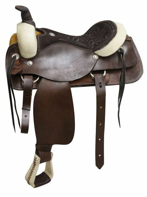 Circle S roper pleasure style saddle with a suede leather seat 16 17