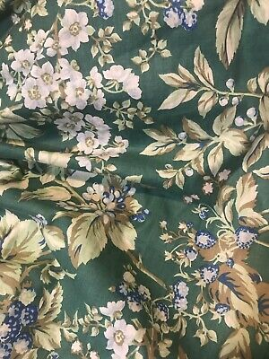 Laura Ashley Twin Bed Dust Ruffle Bramble Berry Bed Skirt Blue Green Floral NWOT