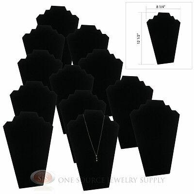 "(12) 12 1/2"" Black Velvet Padded Pendant Necklace Display Easel Presentation"