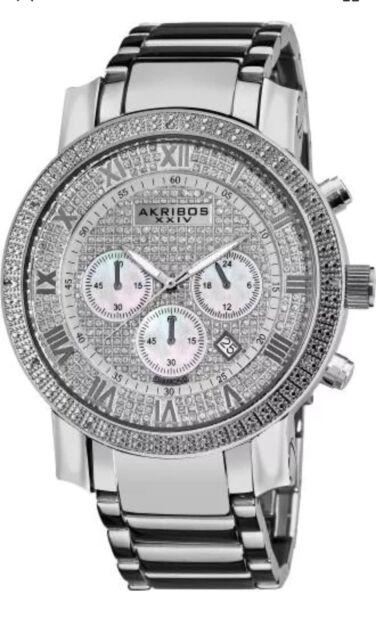 Akribos XXIV Men's AKR439SS2 Grandiose Dazzling Diamond Chronograph Stainelss...