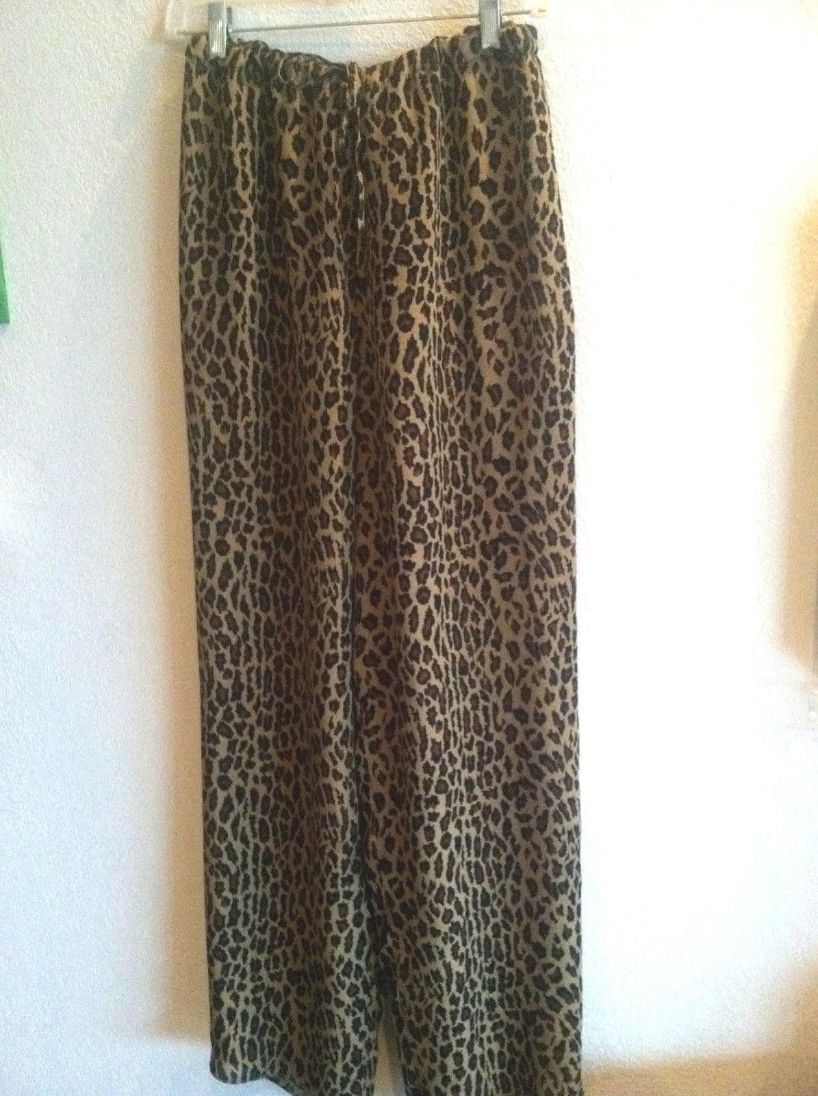 Lauren RL cheetah print 100% soie pantalon doublé en Poly cordon de serrage à la Größe M