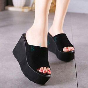 Summer-Womens-Slide-Slipper-Wedge-High-Heel-Platform-Flip-Flops-Shoes-Sandals-SZ