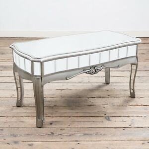 Image Is Loading French Vintage Distressed Silver Paint Mirrored Coffee Table