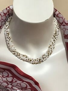 """Vintage Multi-Strand WOVEN Design WHITE Glass Seed Necklace 16"""""""