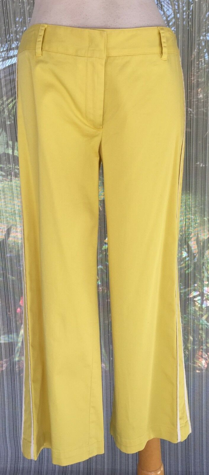 BCBG MAX AZRIA Stretch Cotton Crop Pant New 2 4 6 8 XS S M Yellow White  134 NWT