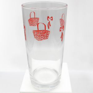 Longaberger-Red-Basket-and-Bow-Tumbler-Glass-Early-Homestead-Gift-Tall-Cooler