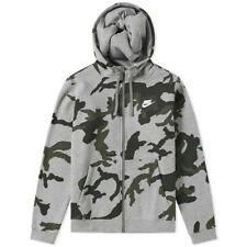 huge discount d8f0b 2ddc9 BNWT Small Men s Nike NSW Club Fleece Full Zip Camo Hoodie Grey AH7019-063