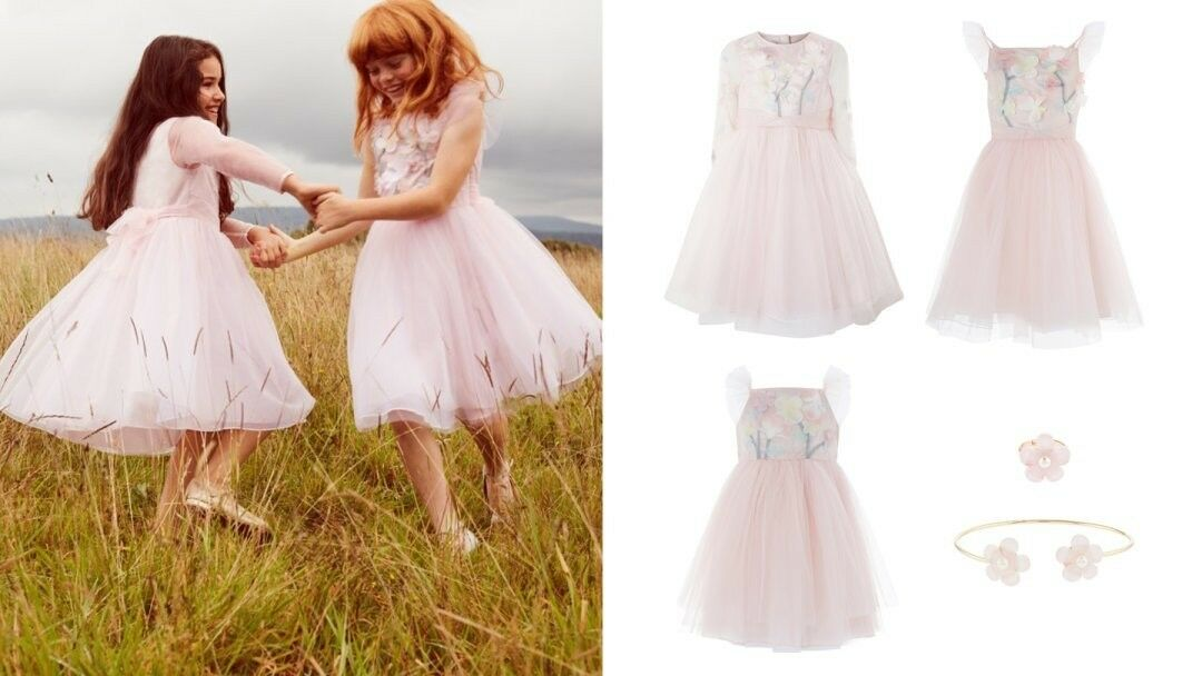 MONSOON GIRLS Beautiful Wedding Evening Party 3D FLEUR DRESS Größe-12-13 Years