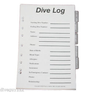 Log book binder replacement pages full set scuba diving dive pages b300 ebay - Dive log book ...