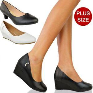 Womens Ladies Large Plus Size Black Low Heel Court Shoes Office Wedge Sandals UK