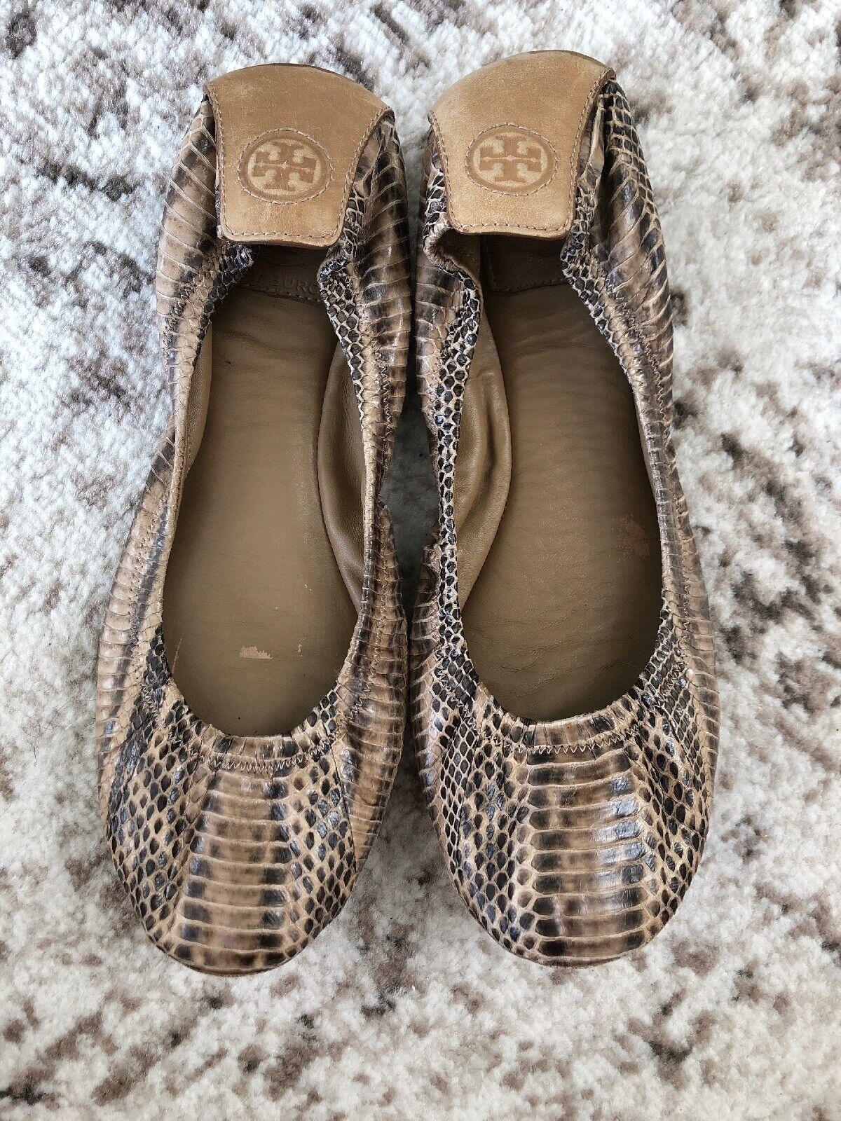 Tori Burch Eddie Snake watersnake, cuero vegetal Ballet, zapatos de cuero, marrón, 8,50  , 250  .
