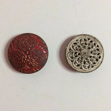 """2 Vintage Metal Sewing Buttons - Painted White & Red - 3/4"""""""