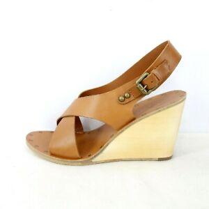 ASH Damen Schuhe Damenschuhe Sandaletten Wedge Sandalen Pumps Leder Braun 40 Neu