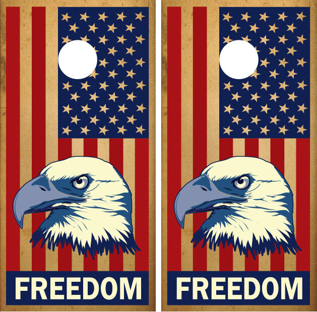 American Flag and Eagle  Freedom  Cornhole Board Decal Wrap Wraps