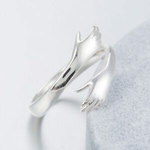 925-Sterlingsilber-Damen-Ring-Ringe-Hand-Haende-Dame-Symbol-Verstellbar-Silber