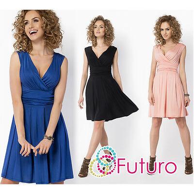 Womens Mini Wrap Dress V Neck Sleeveless Party Skater Tunic Plus Sizes 8-18 FM26