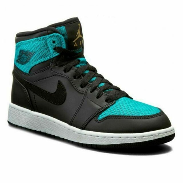 Nike Air Jordan 1 Retro High GG Basketball Shoes Green 332148-011 Boys Size 6y