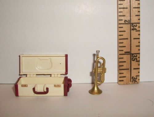 MINIATURE RE-MENT TRUMPET WITH HELLO KITTY CASE ACCESSORY FOR DOLLHOUSE NEW