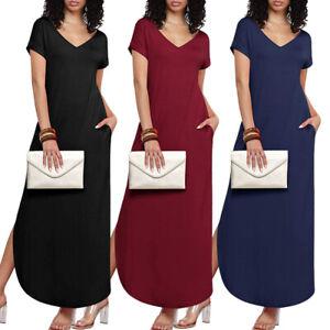 Womens-T-Shirt-Long-Maxi-Dress-Split-Evening-Party-Casual-Summer-Beach-Dresses