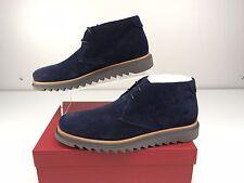 Salvatore Ferragamo Lagos Chukka Royal Blue Buc Suede Men's Boots Size 10.5 D